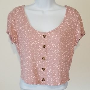 Hippie Rose Cropped Pink Floral Shirt Size XL